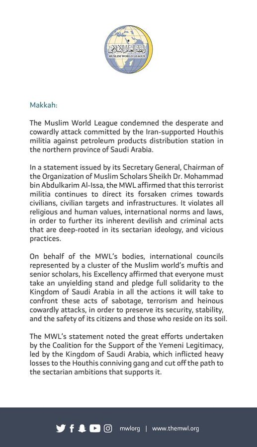 The Muslim World League condemns the attacks by the Iran-supported Houthis in the northern province of Saudi Arabia