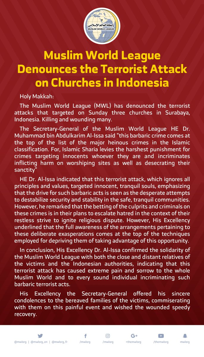 Muslim World League Denounces the Terrorist Attack on Churches in Indonesia