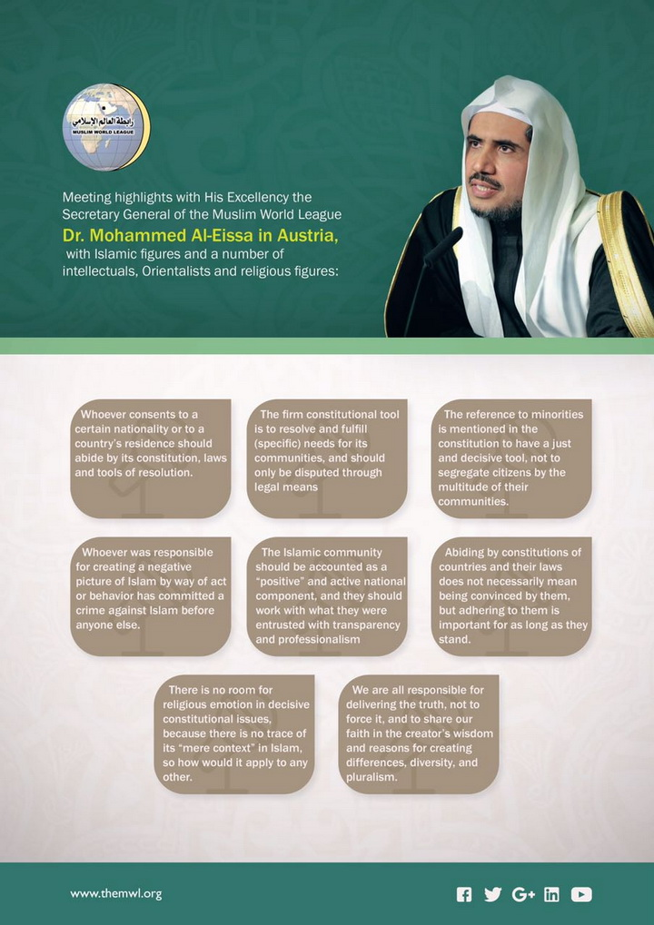 HE the SG MhmdAlissa held several meetings with Vienna Muslim & intellectual figures. These are highlights of his talks with them