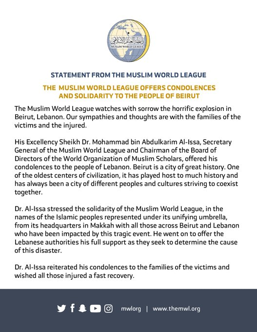 The MWL in Lebanon is working swiftly to provide urgent relief supplies to those affected by the Beirut explosion